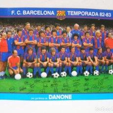 Coleccionismo deportivo: FOTO PLANTILLA FUTBOL F.C. BARCELONA TEMPORADA 82-83- DANONE - CON FIRMAS JUGADORES . DE 13X18 CM.. Lote 144429806