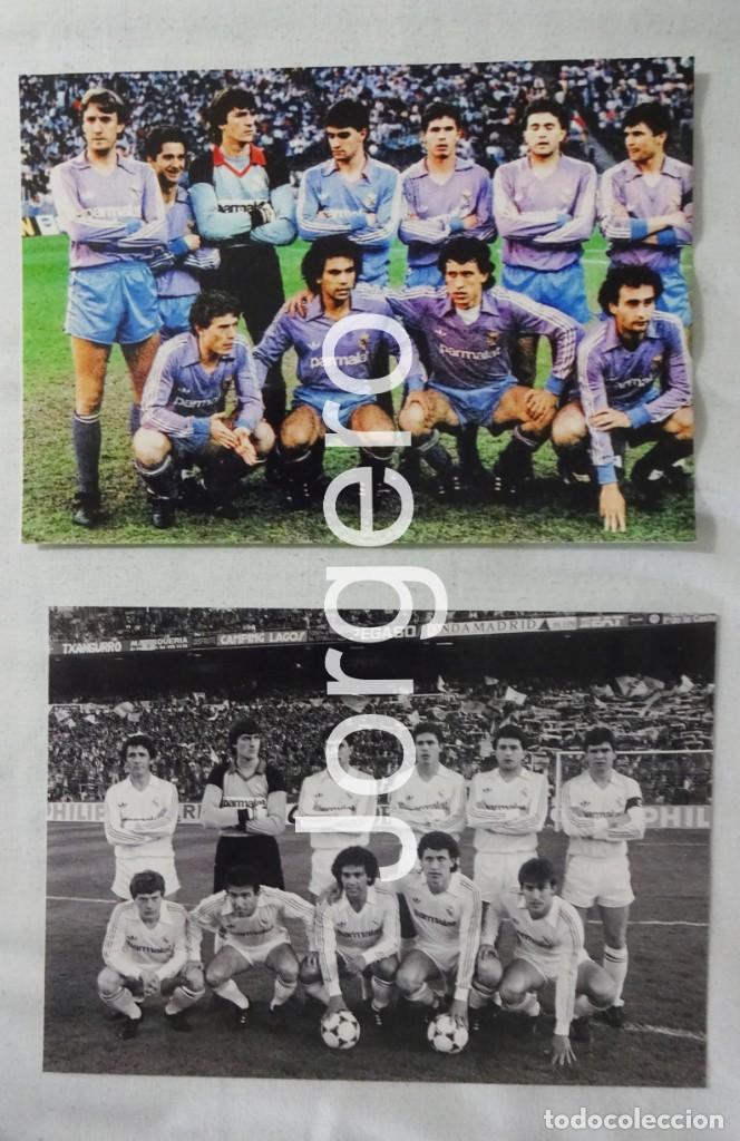 R. MADRID. LOTE 2 FOTOS ALINEACIONES CAMPEÓN COPA UEFA 1985-1986 CONTRA EL COLONIA (Coleccionismo Deportivo - Documentos - Fotografías de Deportes)