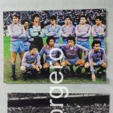 Coleccionismo deportivo: R. MADRID. LOTE 2 FOTOS ALINEACIONES CAMPEÓN COPA UEFA 1985-1986 CONTRA EL COLONIA. Lote 151907754