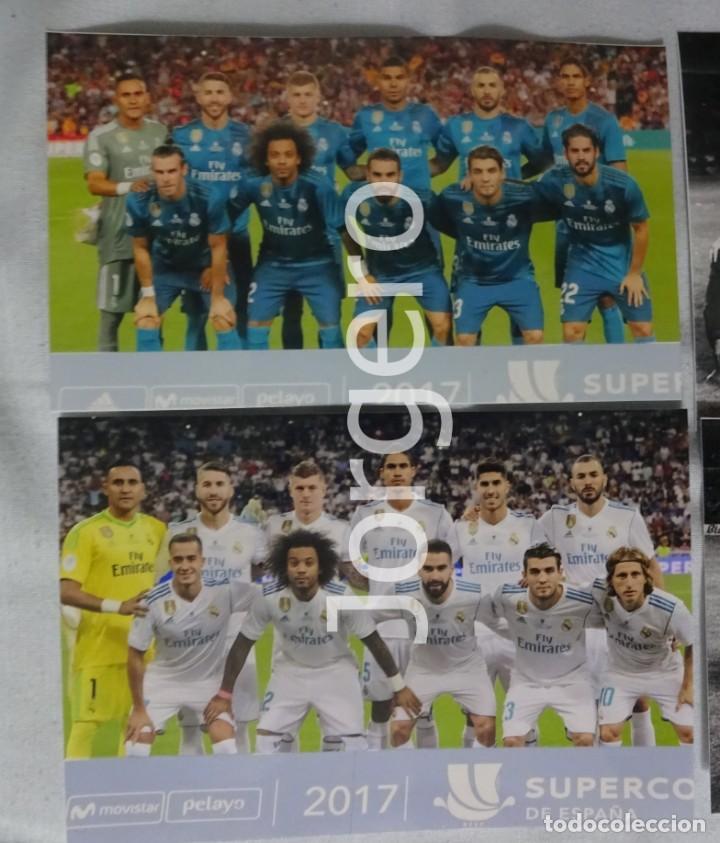 R. MADRID. LOTE 2 FOTOS ALINEACIONES CAMPEÓN SUPERCOPA DE ESPAÑA 2017 CONTRA EL BARCELONA (Coleccionismo Deportivo - Documentos - Fotografías de Deportes)