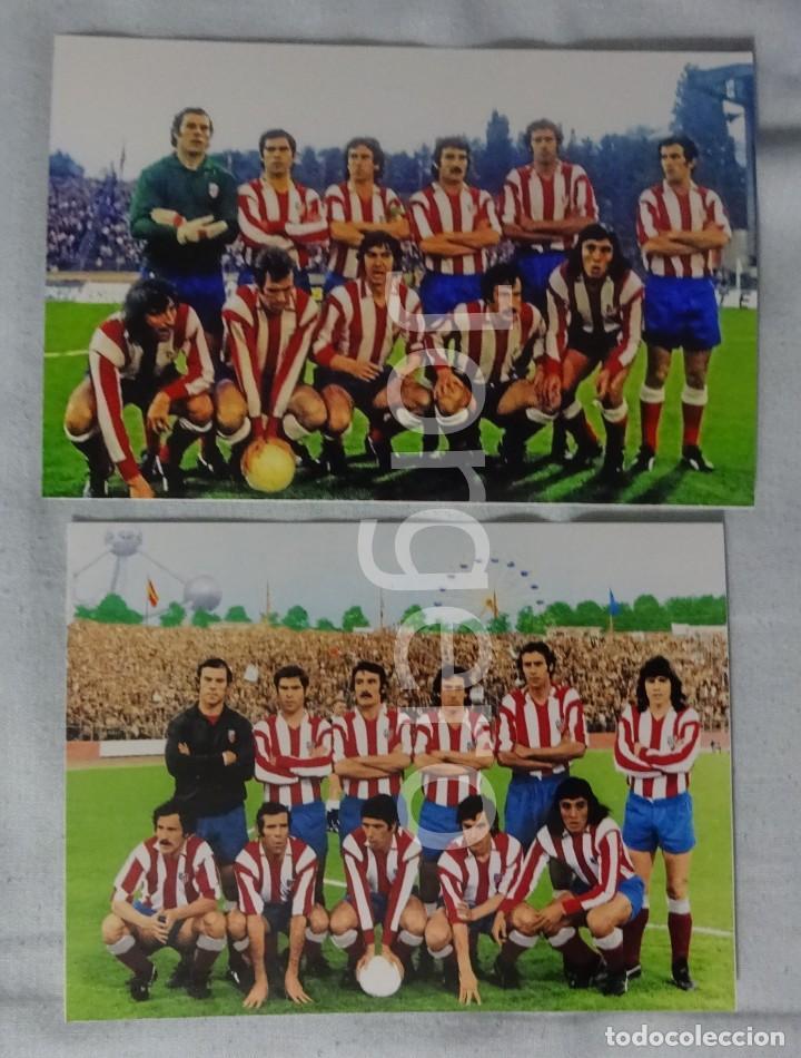 AT. MADRID. LOTE 2 FOTOS ALINEACIONES FINALISTA COPA DE EUROPA 1973-1974 EN HEYSEL CONTRA BAYERN M. (Coleccionismo Deportivo - Documentos - Fotografías de Deportes)