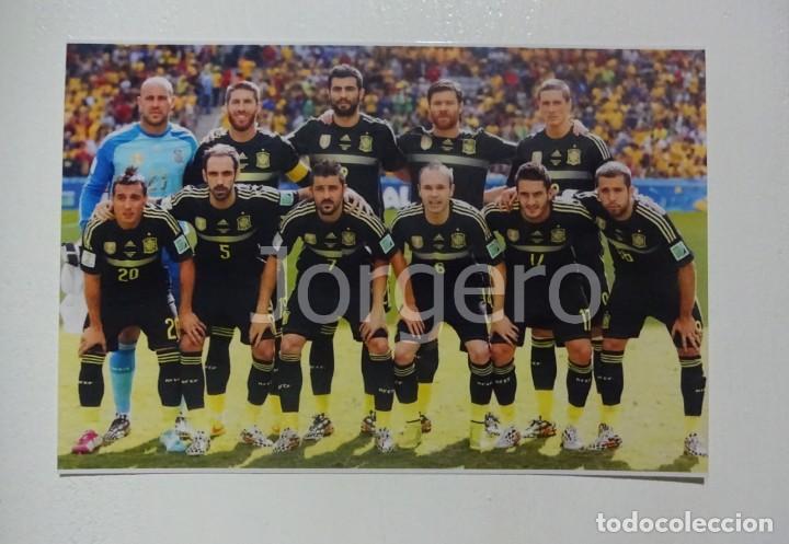 SELECCIÓN ESPAÑOLA DE FÚTBOL. ALINEACIÓN PARTIDO MUNDIAL 2014 EN BRASIL CONTRA AUSTRALIA. FOTO (Coleccionismo Deportivo - Documentos - Fotografías de Deportes)