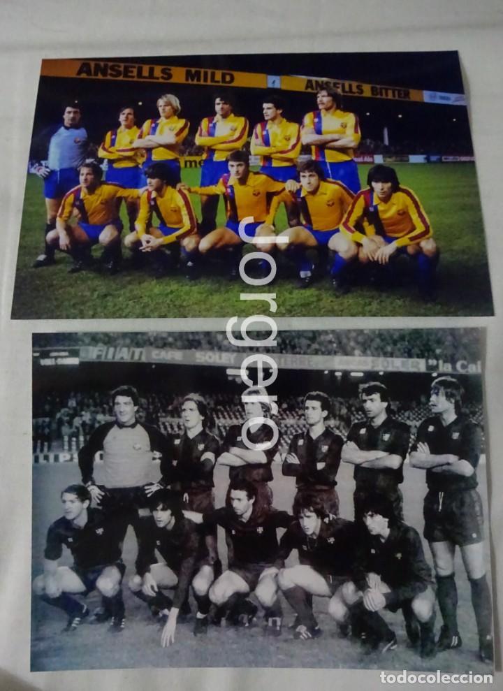 F.C. BARCELONA. LOTE 2 FOTOS ALINEACIONES FINALISTA SUPERCOPA DE EUROPA 1982 CONTRA ASTON VILLA (Coleccionismo Deportivo - Documentos - Fotografías de Deportes)