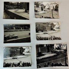 Coleccionismo deportivo: LOTE 14 FOTOS B/N ORIGINALES CARRERAS MONTAÑA MONTJUIC MOTOS AUTOMOVIISMO CICLISMO AÑOS 60' 70'. Lote 164701534