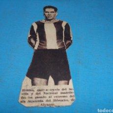 Coleccionismo deportivo: ANTIGUO RECORTE DE PERIÓDICO AÑOS 30 PEGADO EN CARTÓN, JUGADOR ROLDAN, PASÓ POR EL SEVILLA, HÉRCULES. Lote 169927221
