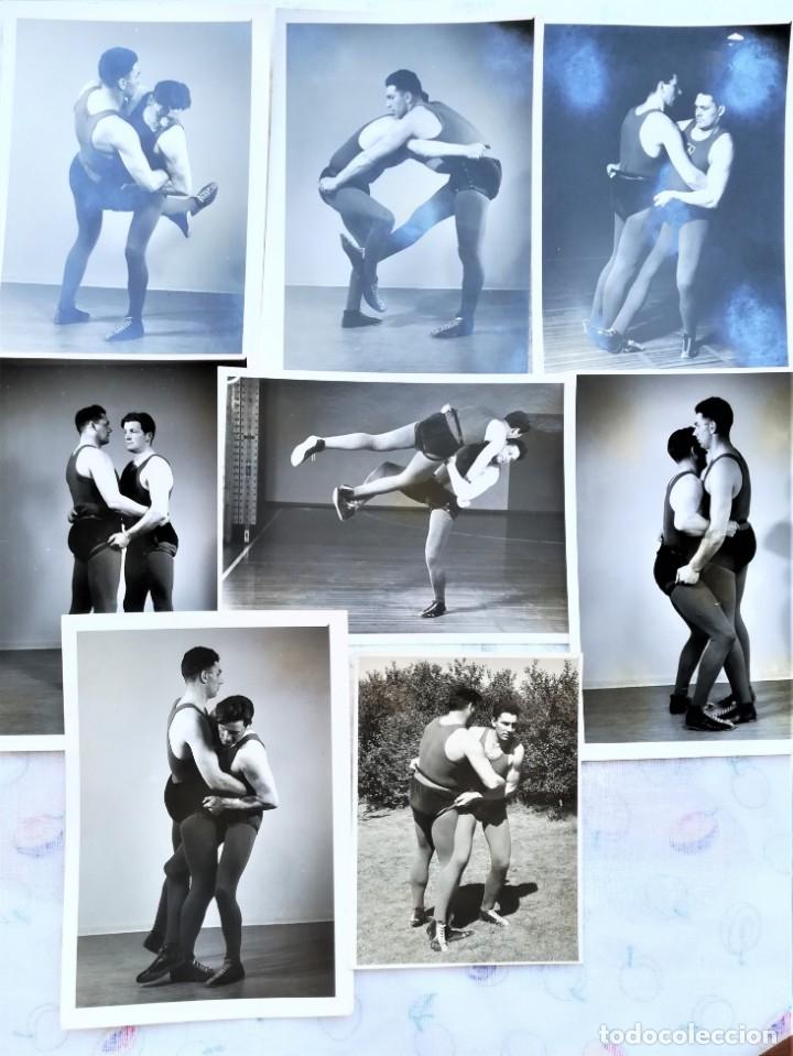 8 FOTOGRAFIAS DEPORTE LUCHA LIBRE VIKINGO DE ISLANDIA,AÑOS 50,SIMILAR A LA CANARIA Y GRECO ROMANA (Coleccionismo Deportivo - Documentos - Fotografías de Deportes)