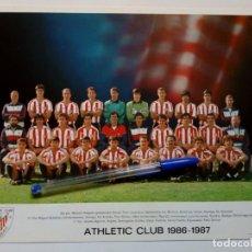 Coleccionismo deportivo: 1986-1987 TARJETÓN OFICIAL DEL ATHLETIC CLUB DE BILBAO CON LA ALINEACIÓN DE LA TEMPORADA - ORIGINAL. Lote 175344340