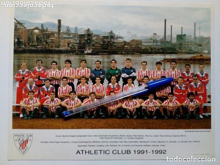 1991-1992 TARJETÓN OFICIAL DEL ATHLETIC CLUB DE BILBAO CON LA ALINEACIÓN DE LA TEMPORADA - ORIGINAL (Coleccionismo Deportivo - Documentos - Fotografías de Deportes)