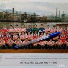 Coleccionismo deportivo: 1991-1992 TARJETÓN OFICIAL DEL ATHLETIC CLUB DE BILBAO CON LA ALINEACIÓN DE LA TEMPORADA - ORIGINAL. Lote 175344444