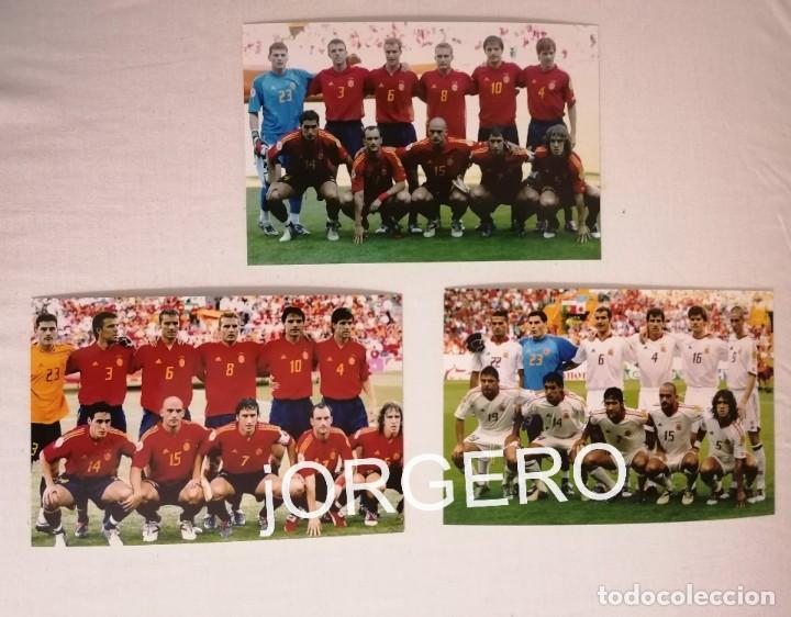 SELECCIÓN ESPAÑOLA DE FÚTBOL. LOTE 3 FOTOS ALINEACIONES EN LA EUROCOPA 2004 DE PORTUGAL (Coleccionismo Deportivo - Documentos - Fotografías de Deportes)