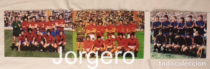 SELECCIÓN ESPAÑOLA DE FÚTBOL. LOTE 3 FOTOS ALINEACIONES EN EL MUNDIAL 1978 DE ARGENTINA (Coleccionismo Deportivo - Documentos - Fotografías de Deportes)
