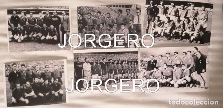 SELECCIÓN ESPAÑOLA DE FÚTBOL. LOTE 6 FOTOS ALINEACIONES EN EL MUNDIAL 1950 DE BRASIL (Coleccionismo Deportivo - Documentos - Fotografías de Deportes)