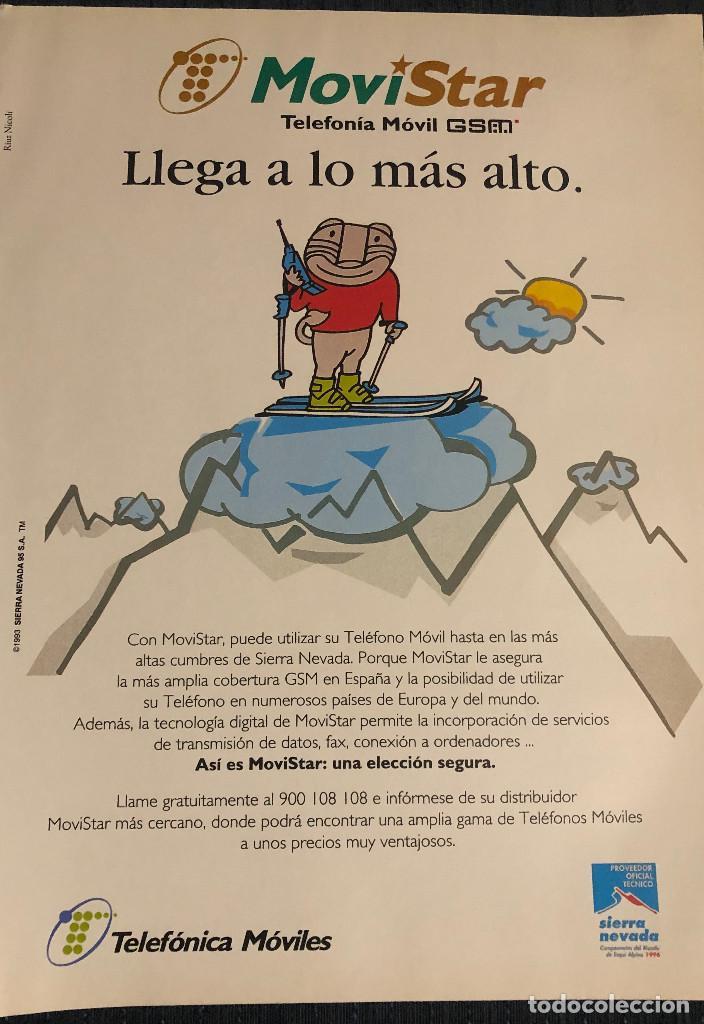 PUBLICIDAD DE MOVISTAR Y SIERRA NEVADA 1996, CON SU MASCOTA. TAMAÑO FOLIO. ENMARCABLE. (Coleccionismo Deportivo - Documentos - Fotografías de Deportes)