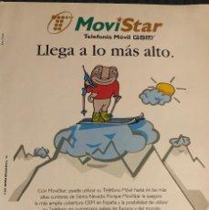Coleccionismo deportivo: PUBLICIDAD DE MOVISTAR Y SIERRA NEVADA 1996, CON SU MASCOTA. TAMAÑO FOLIO. ENMARCABLE.. Lote 195405958