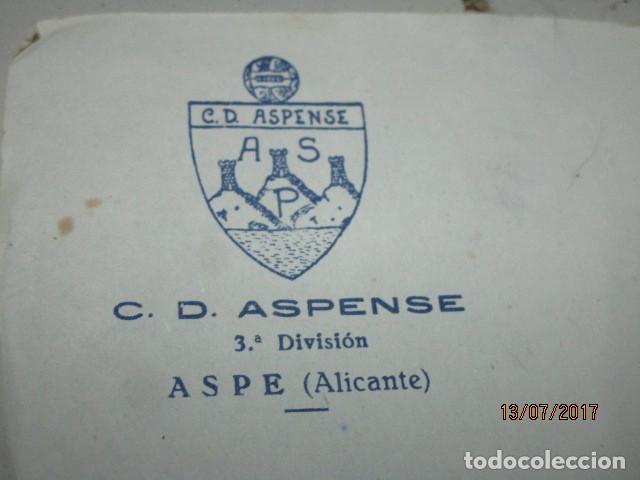 Coleccionismo deportivo: ASPE antigua foto aspense club fuTbol alicante documento del presidente - Foto 2 - 196108367