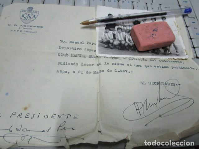 Coleccionismo deportivo: ASPE antigua foto aspense club fuTbol alicante documento del presidente - Foto 3 - 196108367