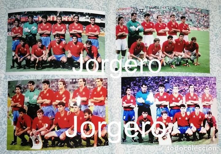 SELECCIÓN ESPAÑOLA DE FÚTBOL. LOTE 4 FOTOS ALINEACIONES EN EL MUNDIAL 1990 DE ITALIA (Coleccionismo Deportivo - Documentos - Fotografías de Deportes)