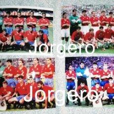 Coleccionismo deportivo: SELECCIÓN ESPAÑOLA DE FÚTBOL. LOTE 4 FOTOS ALINEACIONES EN EL MUNDIAL 1990 DE ITALIA. Lote 214685050