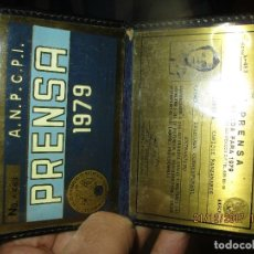 Coleccionismo deportivo: ENRRIQUE MANZANARES PERIODISTA SEVILLA CARNET BRONCE ANPCPI DEPORTIVO PRENSA 1979 MEXICO. Lote 214478566