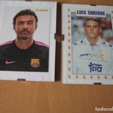 Coleccionismo deportivo: DOS TARJETAS ENMARCADAS DE LUIS ENRIQUE EN EL BARCELONA Y REAL MADRID. Lote 218682893