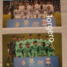 Coleccionismo deportivo: R. MADRID. LOTE 2 FOTOS ALINEACIONES CAMPEÓN SUPERCOPA ESPAÑA 2019 EN YEDA. Lote 220429522