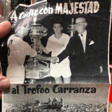 Coleccionismo deportivo: PUBLICIDAD DEL TROFEO CARRANZA.CON EL MADRID COMO CAMPEON DE ESA EDICCION. Lote 227212140