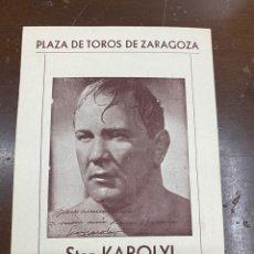 Coleccionismo deportivo: BOXEO. STAN KAROLYI. COMBATE CON FELIX LAMBAN. PLAZA TOROS ZARAGOZA.. Lote 229576960