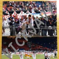 Coleccionismo deportivo: DOS FOTOGRAFIAS NO PRENSA REAL MADRID LA SEPTIMA COPA EUROPA 1998 RAUL MORIENTES SANCHIS. Lote 229903955