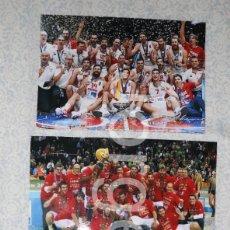 Colecionismo desportivo: SELECCIÓN ESPAÑOLA DE BALONCESTO. LOTE 3 FOTOS DE SUS MEDALLAS DE ORO EN EUROBASKETS. Lote 274031093
