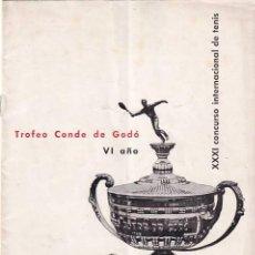 Coleccionismo deportivo: TENIS. TROFEO CONDE DE GODÓ. REAL CLUB DE TENIS BARCELONA. AÑO 1958. PROGRAMA OFICIAL. Lote 276257013
