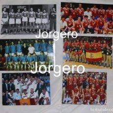 Colecionismo desportivo: SELECCIÓN ESPAÑOLA DE BALONCESTO. LOTE 6 FOTOS DE SUS MEDALLAS DE PLATA EN EUROBASKETS. Lote 280683238