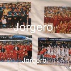Colecionismo desportivo: SELECCIÓN ESPAÑOLA DE BALONCESTO. LOTE 4 FOTOS DE SUS MEDALLAS DE BRONCE EN EUROBASKETS. Lote 286267513