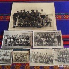 Coleccionismo deportivo: REAL MADRID LOTE 7 FOTOS ORIGINALES DE ALINEACIONES DE EQUIPOS DE FÚTBOL. REQUENA, VALENCIA AÑO 1949. Lote 287582668