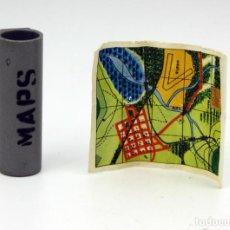 Geyperman: GEYPERMAN - TUBO PORTA MAPAS + 1 MAPA - ORIGINAL AÑOS 70 - ALEMAN. Lote 151181178