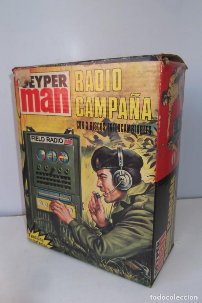 - GEYPER MAN - RADIO CAMPAÑA , 2 DISCOS - AURICULARES - PRISMATICOS - CAMISA Y PIEL CAMUFLAGE- 1975 (Juguetes - Figuras de Acción - Geyperman)