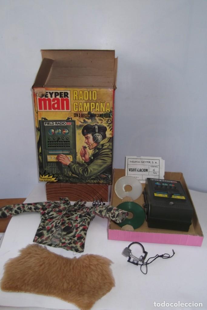 Geyperman: - GEYPER MAN - RADIO CAMPAÑA , 2 DISCOS - AURICULARES - PRISMATICOS - CAMISA Y PIEL CAMUFLAGE- 1975 - Foto 10 - 194771120