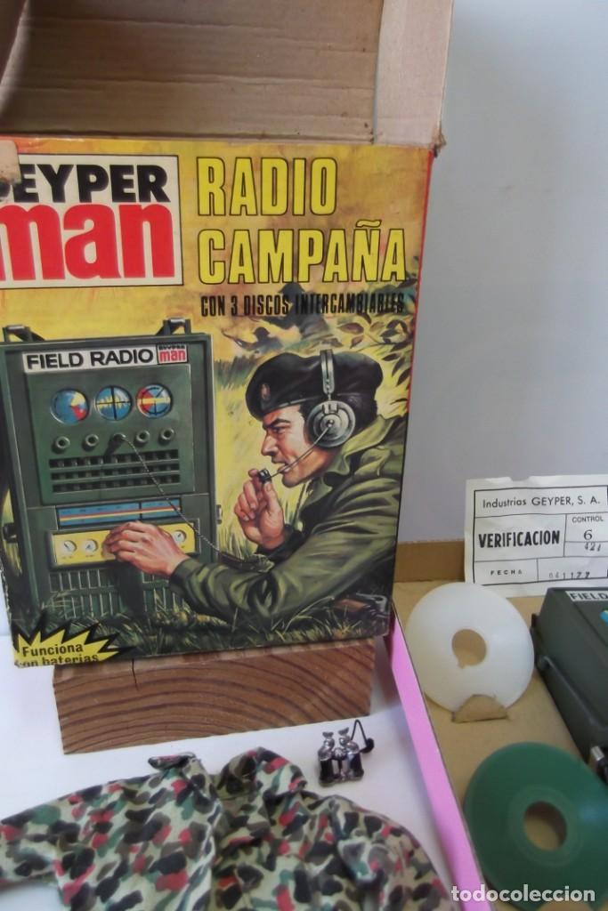 Geyperman: - GEYPER MAN - RADIO CAMPAÑA , 2 DISCOS - AURICULARES - PRISMATICOS - CAMISA Y PIEL CAMUFLAGE- 1975 - Foto 11 - 194771120
