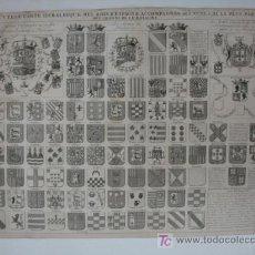Grabados : CARTA HERÁLDICA DE LOS REYES DE ESPAÑA Y ARMAS DE LA MAYOR PARTE DE LOS GRANDES DEL REINO. . Lote 19037177