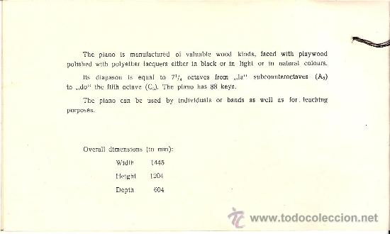 Instrumentos musicales: Excelente. Piano Vertical. Fabricación sovietica.Marca Rostov Don. Modelo Chaikovski. Certificado. - Foto 4 - 27251721