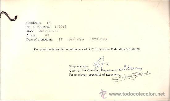 Instrumentos musicales: Excelente. Piano Vertical. Fabricación sovietica.Marca Rostov Don. Modelo Chaikovski. Certificado. - Foto 5 - 27251721