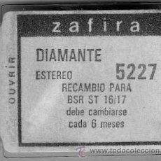 Instrumentos musicales: AGUJA TOCADISCOS DIAMANTE 5227 -ZAFIRA-. Lote 23977468