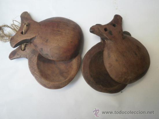 PAREJA DE CATAÑUELAS DE MADERA // PASTORIL (Música - Instrumentos Musicales - Percusión)