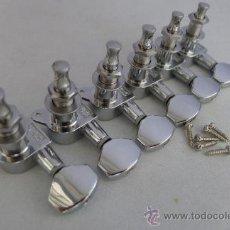 """Instrumentos musicales: CLAVIJERO """" ESP """" 6 EN LINEA, COLOR NIQUEL NUEVO . Lote 30534410"""