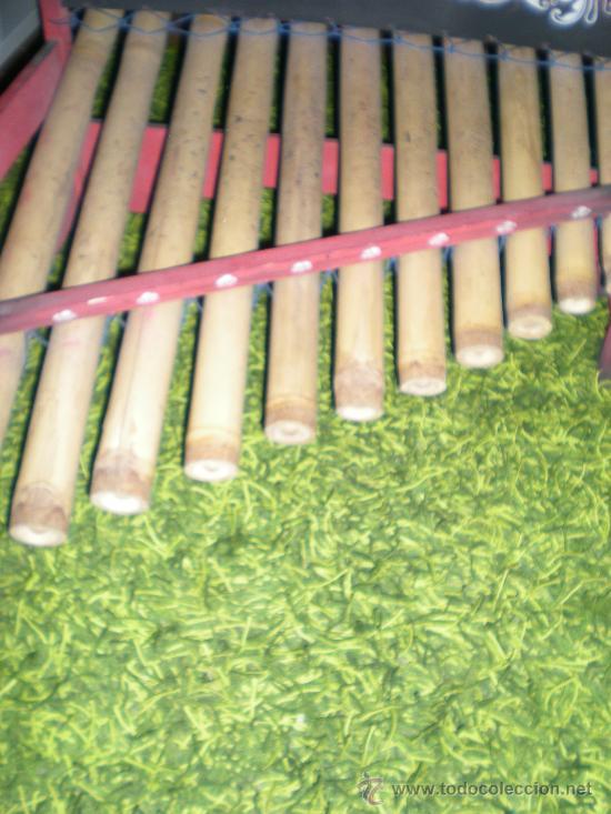 Instrumentos musicales: xilofono de madera y bambu pintado a mano mide 68 x 47 x 68 cm mediados siglo XIX - Foto 2 - 32895121