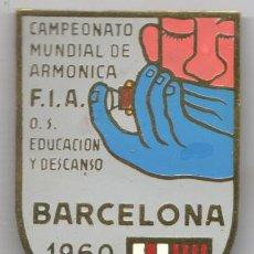 Instrumentos musicales: MUY INTERESANTE AGUJA -INSIGNIA DEL CAMPEONATO MUNDIAL DE ARMONICA F.I.A.BARNA 1960 PIN. Lote 35836419