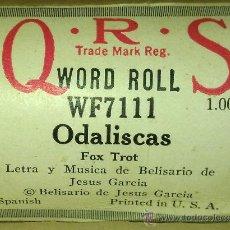 Instrumentos musicales: ODALISCAS - AUTOR: BELISARIO DE JESUS GARCIA - ROLLO DE PIANOLA EN SU CAJA ORIGINAL. Lote 36635427