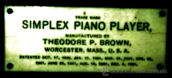 Instrumentos musicales: PIANOLA (SIMPLEX PIANO PLAYERS). THEODORE P. BROWN. WORCESTER U.S.A. 1901. ORIGINAL - Foto 3 - 36835083