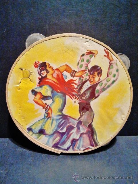 ANTIGUA PANDERETA DE MADERA LITOGRAFIADA 'BAILE FLAMENCO'. (Música - Instrumentos Musicales - Percusión)