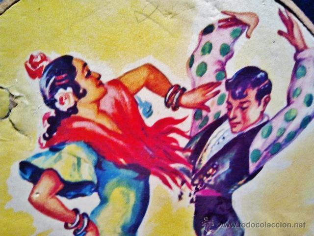 Instrumentos musicales: Antigua pandereta de madera litografiada Baile flamenco. - Foto 2 - 40708617