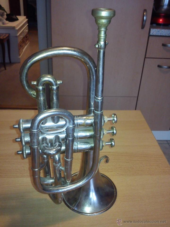 ANTIGUA TROMPETA DE 3 PISTONES,8.CIE..BALE .MAD SUIZE.. (Música - Instrumentos Musicales - Viento Metal)